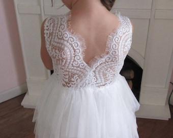 White flower girl dress, Lace flower girl dress, Tulle flower girl dress, Toddler flower girl, Wedding, Birthday dress, Rustic wedding