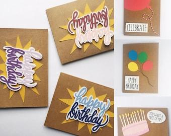 Birthday card pack etsy handmade birthday card pack of 6 happy birthday 3d cardstock bookmarktalkfo Images