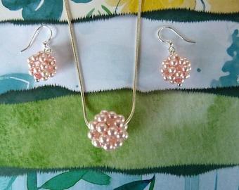 Swarovski Pearl Ball Pendant in Rosaline with Coordinating Earrings