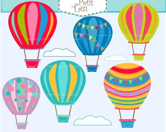 ON SALE Hot Air Balloon Clip Art - hot air balloons clip art,Air Balloons clip art, colorful hot air balloon