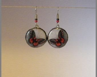 """Earrings """"Red and black Butterfly"""" - wood and resin cabochon"""