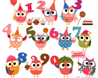 Birthday owl clip art for Personal and Commercial use - INSTANT DOWNLOAD