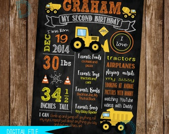 Construction Birthday Sign, Construction Party Sign, 1st Birthday Sign, Birthday Chalkboard, First Birthday Sign, Birthday Milestone Sign