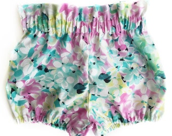 Floral Baby Bloomers - Blue Baby Bloomers - Baby Girl Bloomers - Baby Girl Shorts - Toddler Bloomers - Toddler Shorts - Purple Baby Bloomers