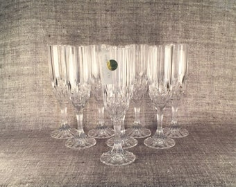 Set of Eight Bretagne Lead Crystal Champagne Flutes by Cristal d'Arques in Original Boxes