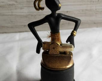 """Vintage 20th Century TableTop-Lighter. Depicted is a 4"""" Warrior. Would Make a Nice Collectible Piece. Lighter needs  TLC. Free Shipping USA."""