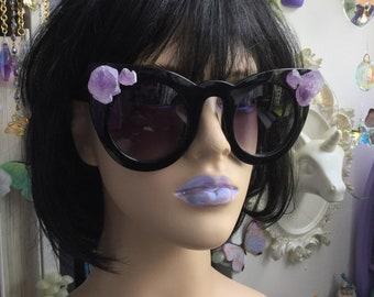 Amethyst Crystal Sunglasses, Large Cat Eye with gemstone embellishments