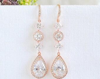 Rose Gold Bridal Earrings, Long Wedding Earrings, Crystal Halo and Teardrop Dangle Earrings, Wedding Jewelry, Old Hollywood Style, ARIANNE