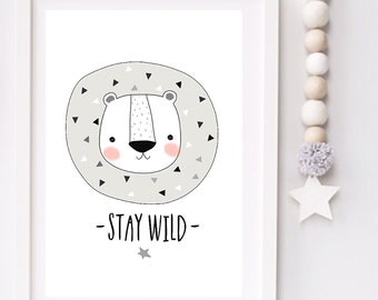 Stay Wild Modern Monochrome Lion Nursery typography print
