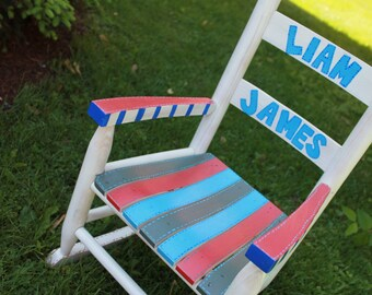 Child Rocking Chair- Kid Rocking Chair- Small Rocker- Rainbow- Personalized Hand Painted Rocking Chair