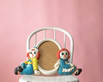 Vintage 1977 Raggedy Ann And Raggedy Andy Bobbs-Merrill Company Wall Picture Frame