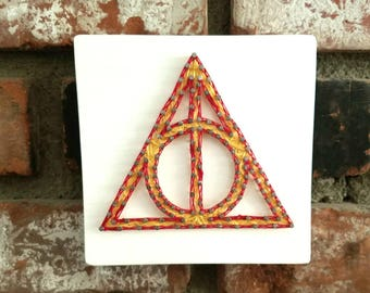 Deathly Hallows String Art. Harry Potter String Art. Gryffindor String Art.