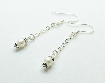 Pear Earrings, Pearl Drop Earrings, Pearl and Chain Earrings, Pearls and Sterling, Modern Pearl Earrings, June Birthstone
