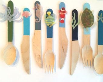 Ocean fun 2 - coastal nautical birch wood flatware