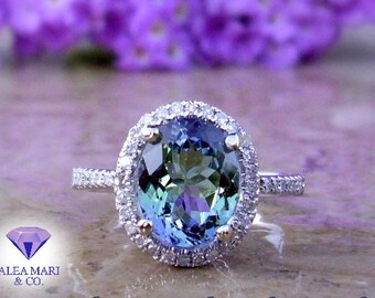 Tanzanite Engagement Ring | Tanzanite and Diamond Ring | 14kt, 18kt, or Platinum | Made To Order
