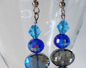 Teal and Blue Crystal Faceted Aurora Borealis Handmade Earrings