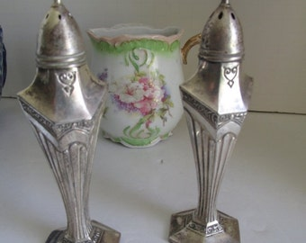 SALE Tall Ornate Sterling Silver Salt and Pepper set Victorian Sterling Silver Salt and Pepper Shaker Sets Paneled Style Sides
