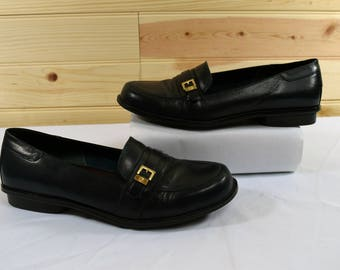 Etienne Aigner Vintage 80s Black Leather Womens Loafers Size 8.5W Wide