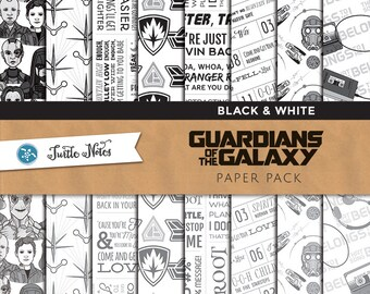 Guardians of the Galaxy Black & White Paper Pack : 16 Printable Digital Scrapbook Papers