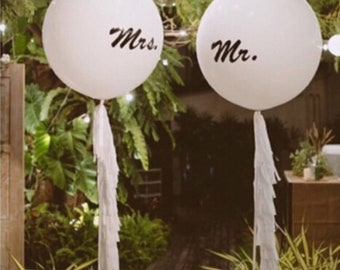 Mr ans Mrs giant balloons, wedding balloons, 36 inch balloons