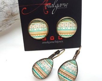 SALE 16mm or drop boho earrings / stripes and patterns / turquoise and orange / glass cabochon