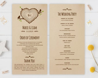Kraft wedding programs PRINTED | Wedding ceremony programs | Cheap programs for woodsy, winery, country wedding | Marriage programs