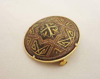 Vintage Round Toledo Damascene Brooch, Damascene Pin