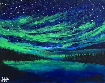 Northern Lights Painting, Aurora Borealis Painting, Northern lights Wall Art, painting on canvas, acrylic painting, original painting, small