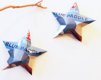New Belgium Blue Paddle Beer Stars, Christmas Ornaments, Aluminum Can Upcycled