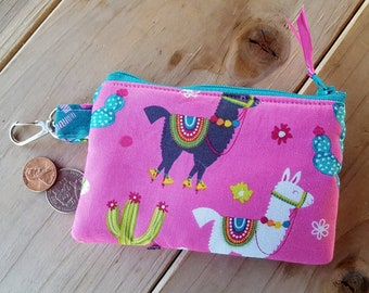 Llama Coin Purse, Girl's Coin Purse, Pink Coin Purse, Llama Zipper Wallet, Change Purse, Ear Bud Pouch, Zipper Bag,  Pocket Wallet