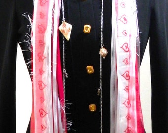 Satin, Silk and Lace Layered Scarf with Silver Charm Enhancements