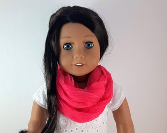 Pink Doll Scarf, Infinity Scarf, 18 inch Doll Scarf, Doll Accessories, Trendy Pink scarf, Doll Clothes, Made in Canada, Free Shipping