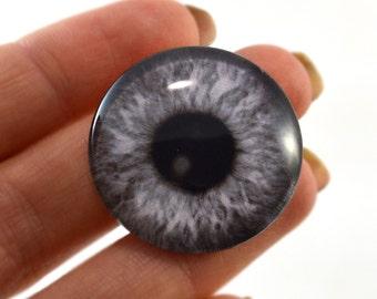 Glass Eye Cabochon 30mm Black and White Fantasy Steampunk Eye for Pendant Jewelry Making or Taxidermy Doll Eyeball Flatback Circle