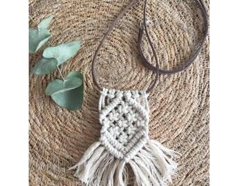 Boho Macrame necklace Aka linen