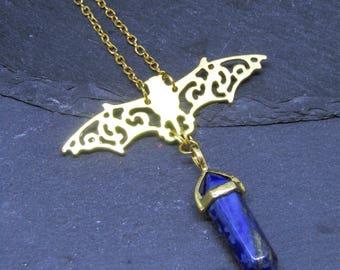 Lapis Lazuli and Bat Necklace, Bat Necklace, Bat jewellery, Witchy Necklace, Goth Necklace, Lapis lazuli, Bat necklace, Gothic, Bat Pendant