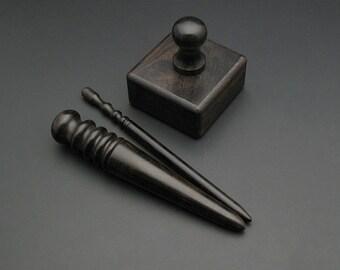 Leather Edge Slicker Round Burnisher Wood Leathercraft Hand Tool, Tool polishing, Edge sanding, Smooth tool, Wood slicker, edge slicker Dark