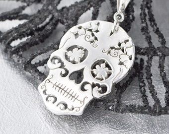 Sterling Silver Sugar Skull Pendant, Sugar Skull Jewelry, Sugar Skull Necklace, Jewelry, Day of the Dead Wedding, Gift For Her