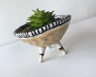 Small airplant holder, black, white, tan,  gold, tri-pod, handmade ceramic pinch pot, succulent pot, stripes, modern home decor, stoneware