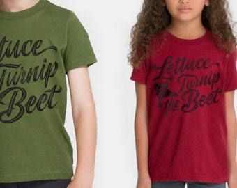 SALE lettuce turnip the beet ® - cotton t shirt - olive green or cardinal red - farmers market, CSA, farming, gardening, vegetarian shirt