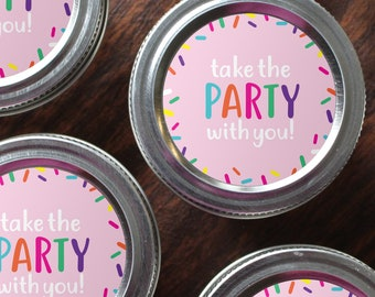 """2"""" Round Printable Sprinkle/Confetti Favor Labels for Mason Jar for Birthdays, Weddings, Baby Showers and more!"""