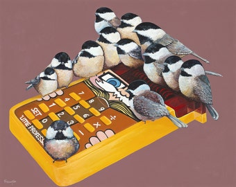 "Digital Print from Original Artwork 11.5x14.5 ""Bird Count"" - Carolina Chickadees with Vintage 1980s Little Professor toy calculator"