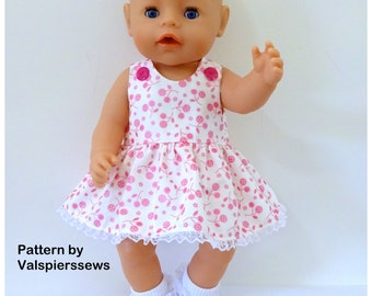 "Baby Doll Pinafore, Valspierssews Doll Clothes Pattern, Fits popular 17"" and 18"" dolls, Easy to Sew"