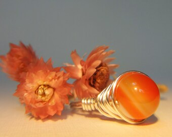 Fire Agate Handmade Wire Wrapped Ring