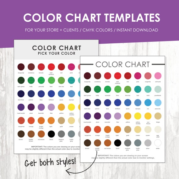 Color Chart Color Chart Template Color Palette Instant