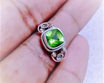 Green Ring, Natural Peridot Gemstone Ring- Solid 925 Sterling Silver Ring, August Birthstone Jewelry -Unique Designer Peridot Ring Size 8