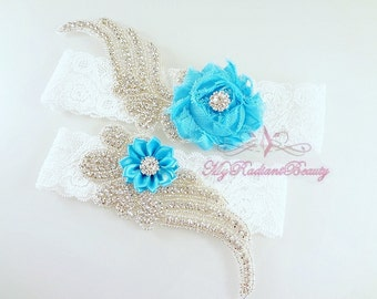 Bridal Garter, Wedding Garter, Garter, Sexy Garter Set, Royal Blue Flower Garter, Rhinestone Garter, Custom Garter, Crystal Garter GTF0008RB