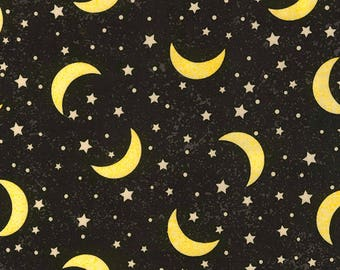 Black Moon and Stars Fabric-To The Moon & Back-Timeless Treasures-Children's Fabric-Nursery Fabric-Celestial Fabric-Moon Fabric-Quilt Fabric