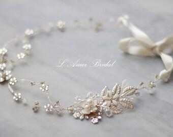 Bridal boho flower crown, floral bridal headdress, wedding flower vine, bridal flower forehead crown, boho bridal headband,