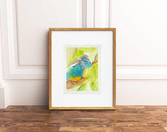 Original watercolor with frame, turquoise birds, baby shower gift idea, wall art, home office decoration, child's bedroom, birth, nursery.
