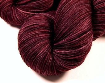 Hand Dyed Yarn, Sock Weight 4 Ply Superwash Merino Wool - Damson Plum - Indie Dyed Semi Solid Knitting Yarn, Tonal Fingering Sock Yarn